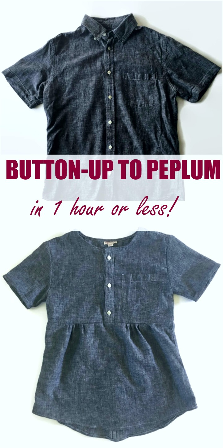 One hour men's button-up to peplum. Easy! brittstitch.com