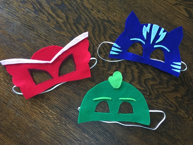 DIY no-sew PJ Masks masks. Quick and Easy toddler costume. Halloween masks.