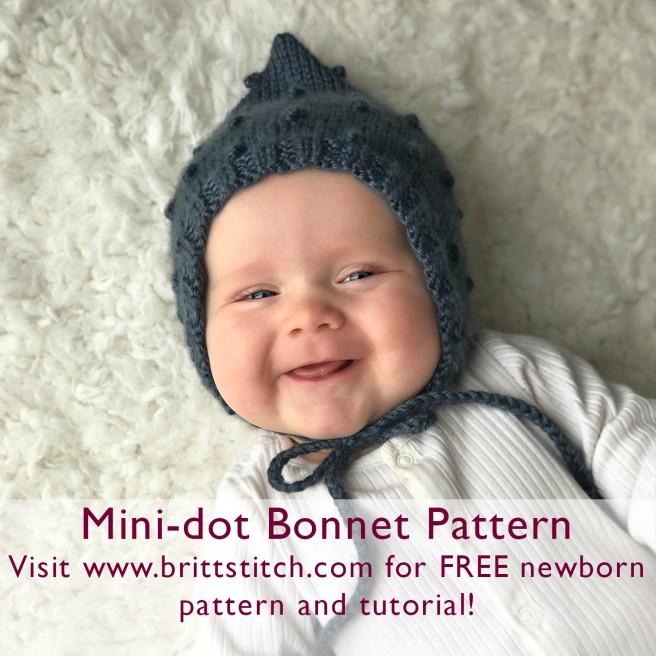 brittstitch.com, free knitting pattern, knit bonnet, baby bonnet, free bonnet pattern